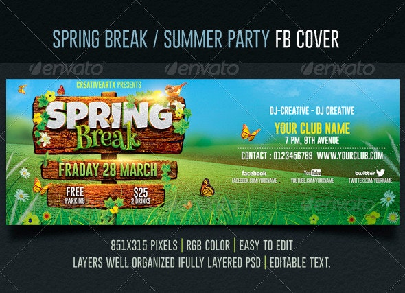 Spring Break / Summer Party Facebook Cover - Facebook Timeline Covers Social Media