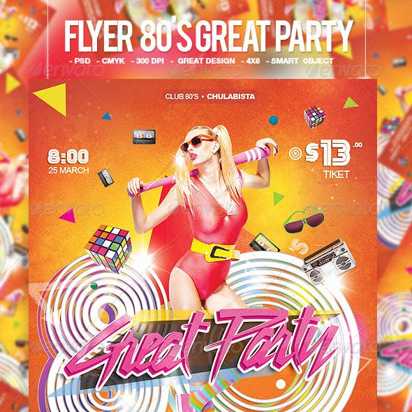 Flyer 80's Great Party