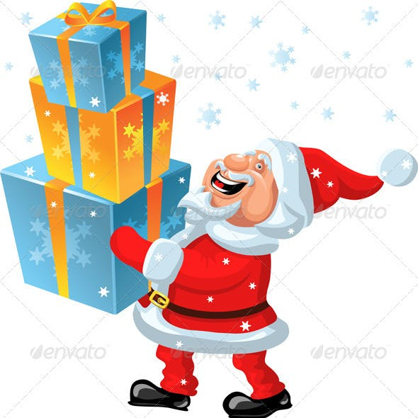 Vector a happy Santa Claus brings in the hands of