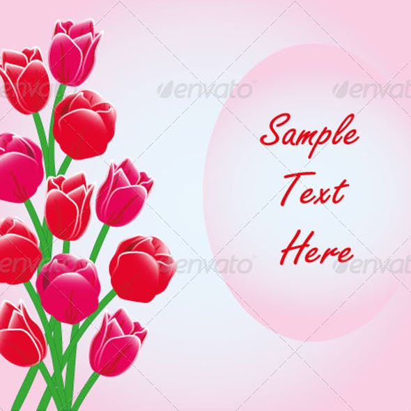 Red Tulips Frame Card Text