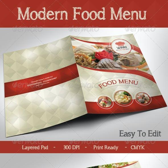 Modern Food Menu