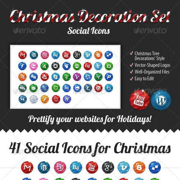 Christmas Decoration Set — Social Icons