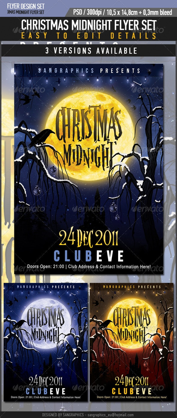 Christmas Midnight Flyer Set  - Clubs & Parties Events