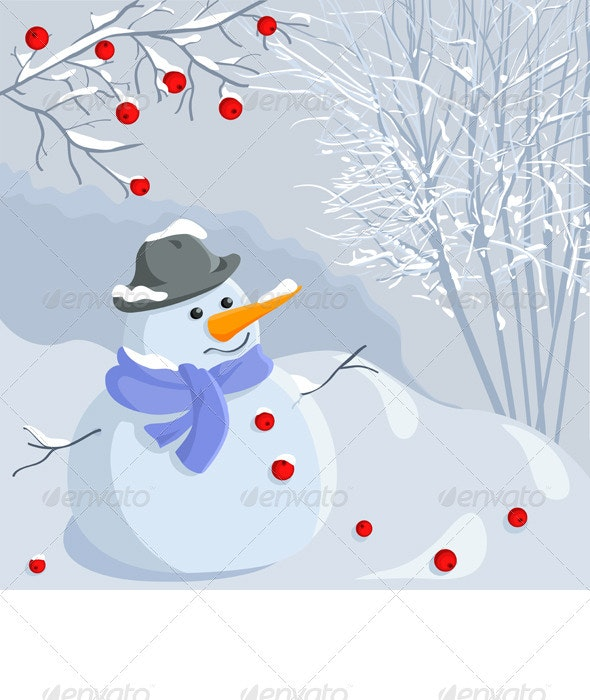 Vector Christmas winter snowman with a landscape - New Year Seasons/Holidays