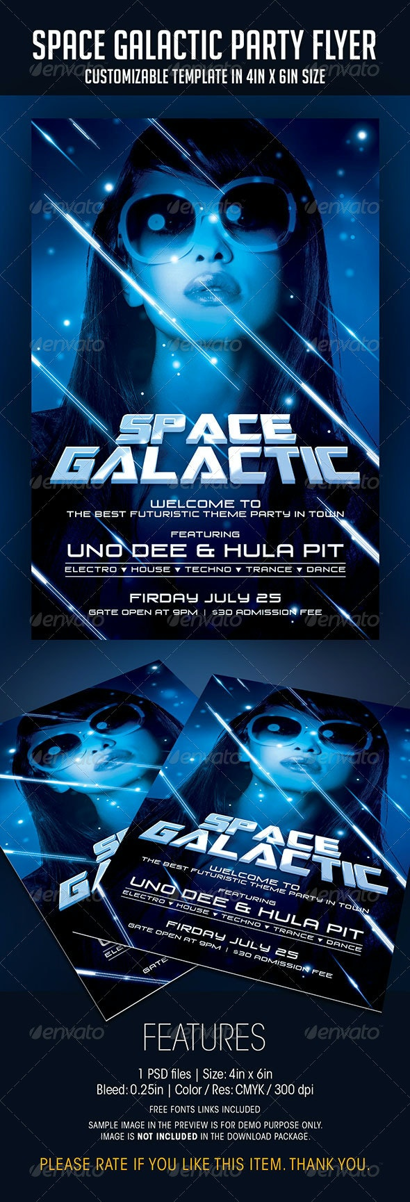 Space Galactic Party Flyer - Clubs & Parties Events
