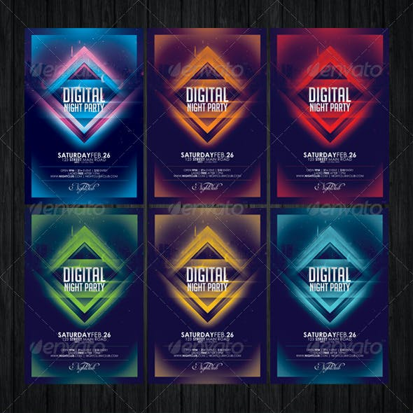 Digital Night Party Flyer Template
