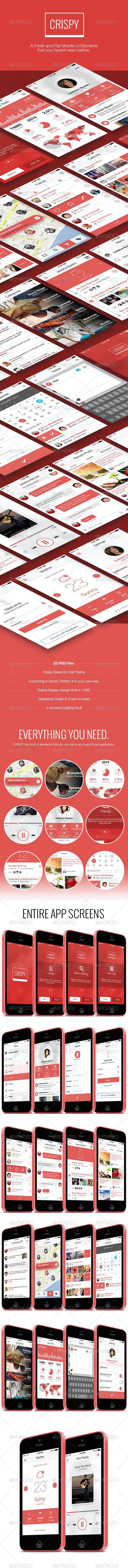 Crispy - A Fresh & Flat Mobile Ui Design - User Interfaces Web Elements