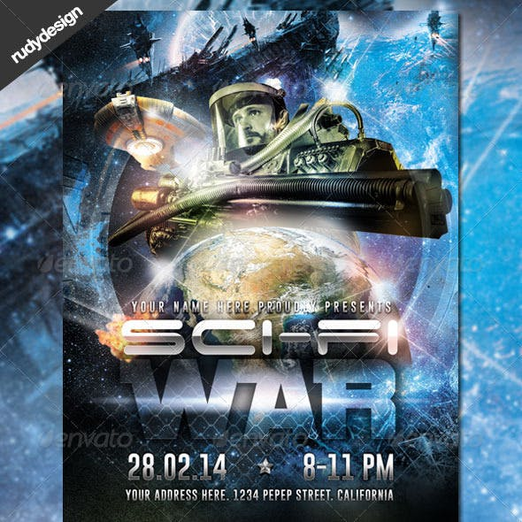 Science Fiction Space War Flyer Design