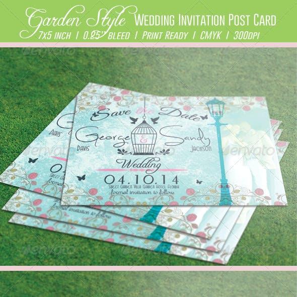 Garden Style Wedding Invitation Post Card