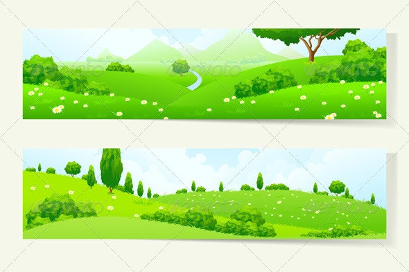 Two Horizontal Banners with Nature Landscape - Landscapes Nature