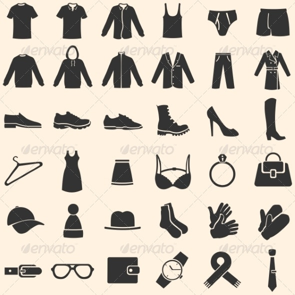 Vector Set of Clothes Icons - Man-made Objects Objects
