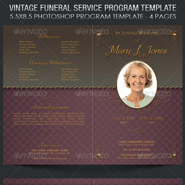 Vintage Funeral Service Program Template
