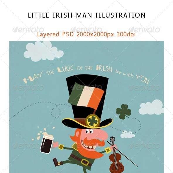 Leprechaun Dancing with Irish Shamrock