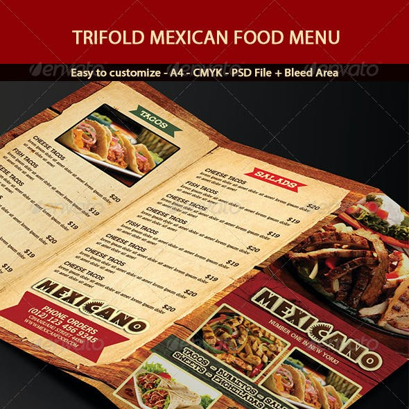 Trifold Mexican Menu