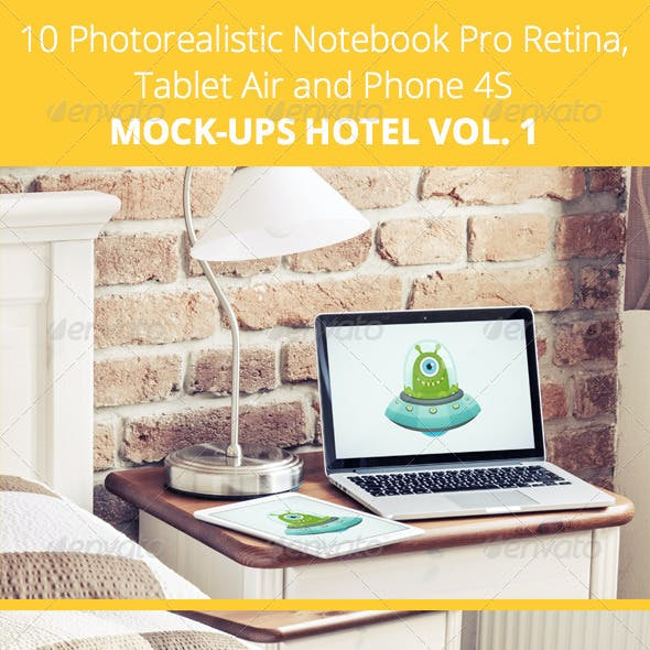 10 Photorealistic Device Mock-Ups in Hotel - Vol.1