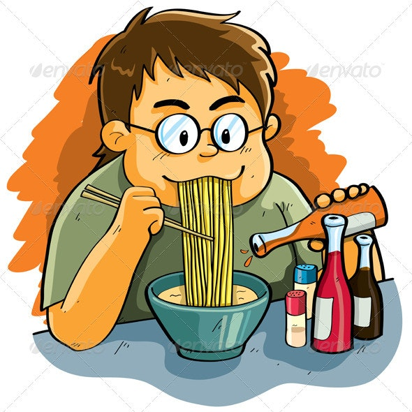 Man Eating Noodles - People Characters