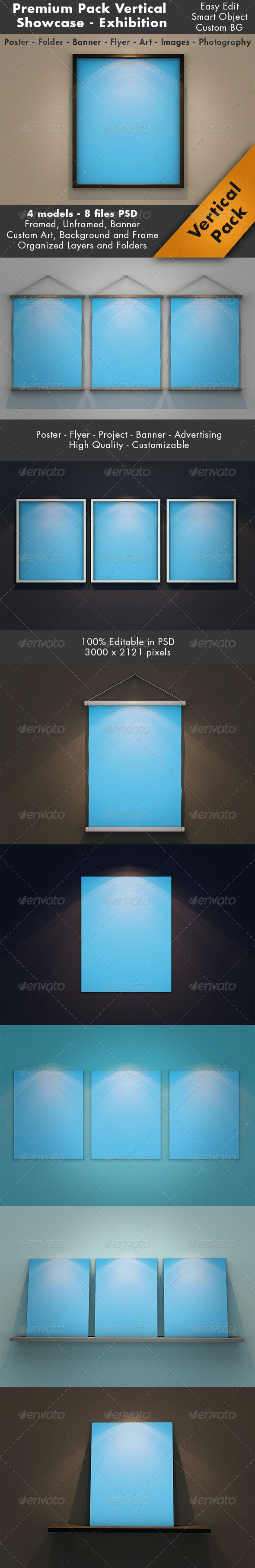 Vertical Showcase Mockup Pack - Posters Print
