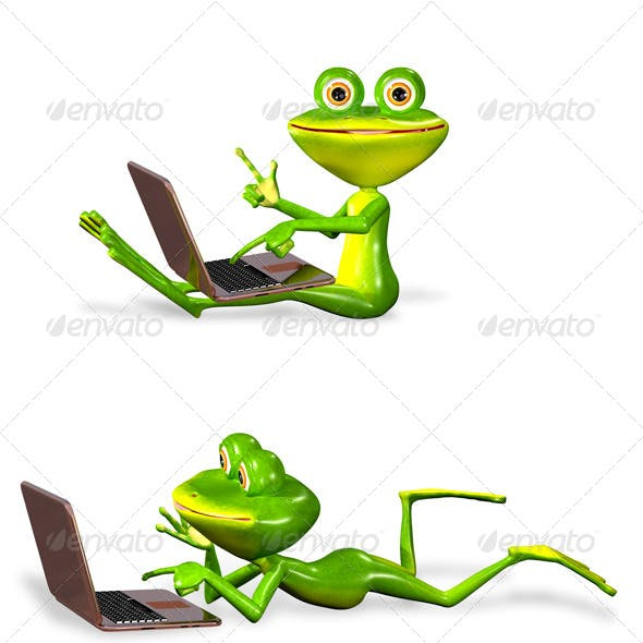 green frog with notebook