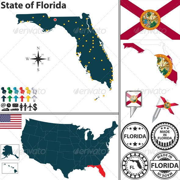 Map of State Florida, USA
