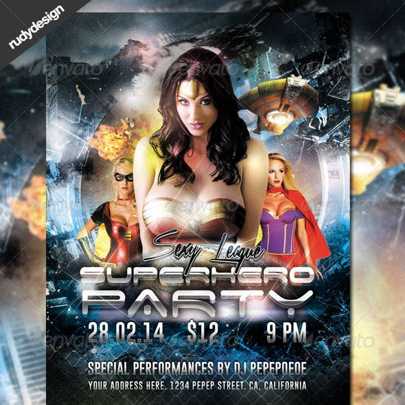 Superhero Costume Party Flyer Design