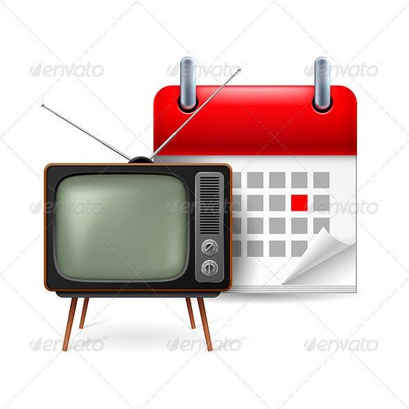 Old TV-Set and Calendar