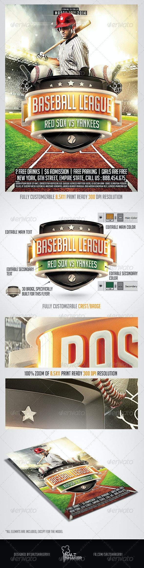 Baseball League Flyer Template - Sports Events