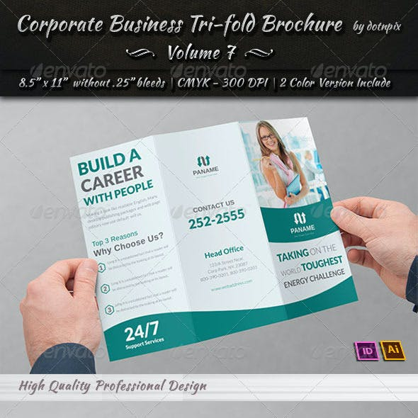 Corporate Business Tri-Fold Brochure   Volume 7