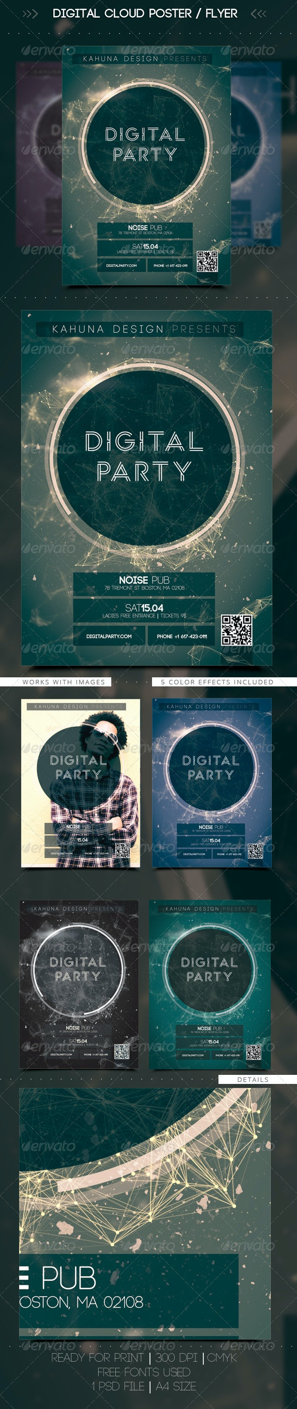 Digital Cloud Poster / Flyer - Clubs & Parties Events