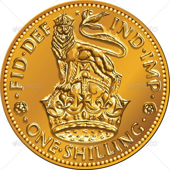 British Money Gold Coin Shilling with Lion Crown