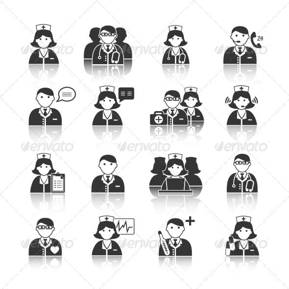 Medicine Doctors and Nurses Icons Set - Health/Medicine Conceptual