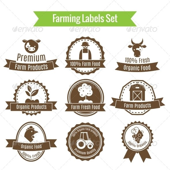 Farming Harvesting and Agriculture Badges or Label