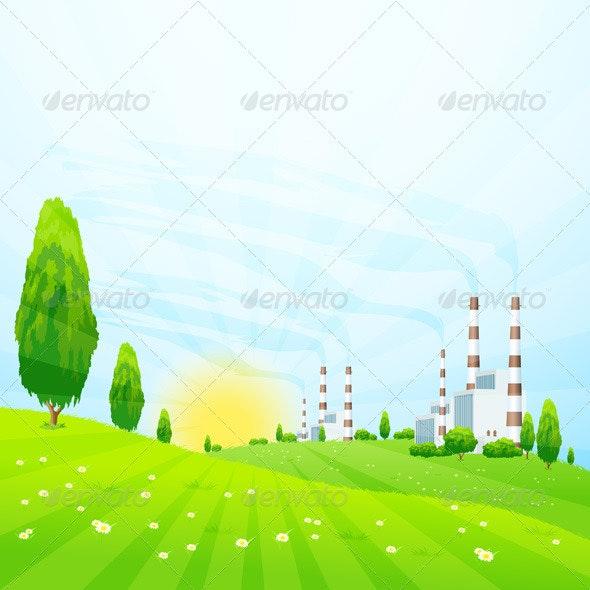 Green Landscape with Power Plant - Landscapes Nature