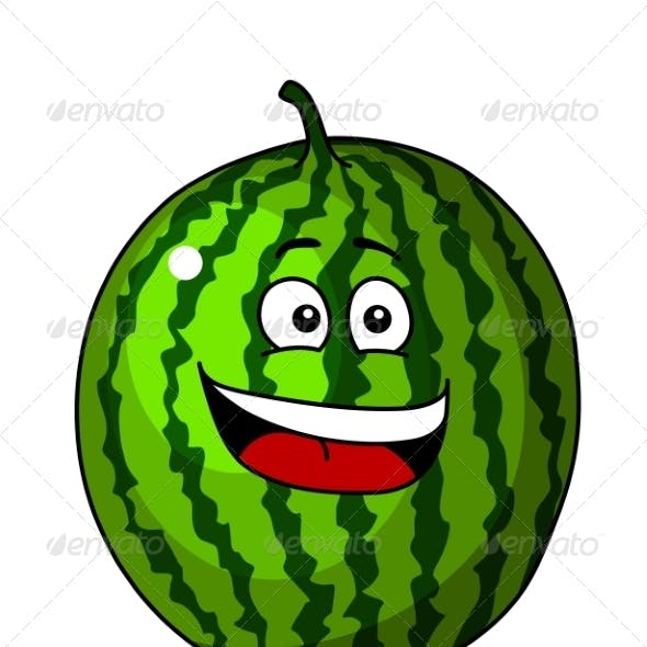 Green Cartoon Watermelon