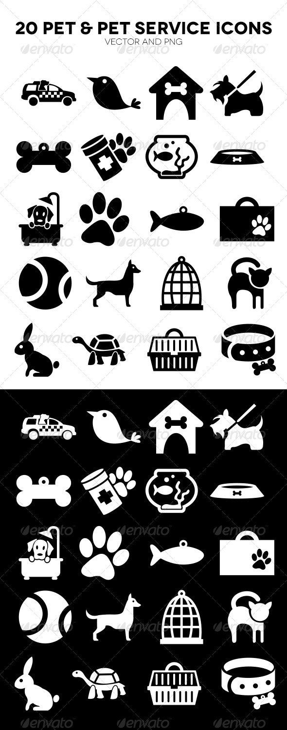 20 Pet and Pet Service Icons - Animals Characters
