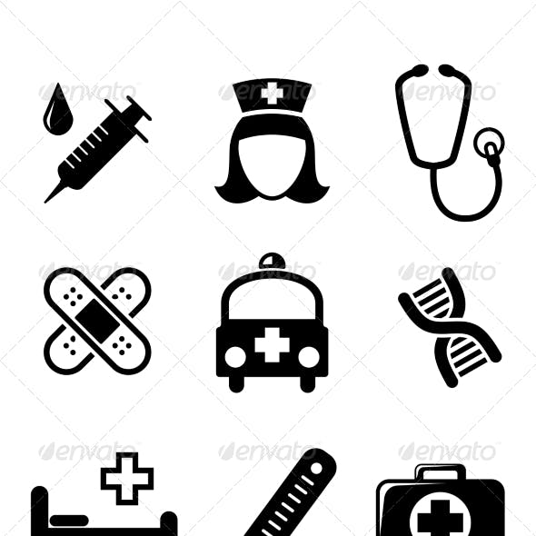 Set of Black and White Medical Icons