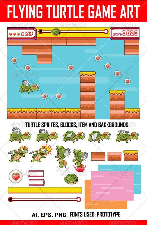Flying Turtle Game Art - Sprites Game Assets