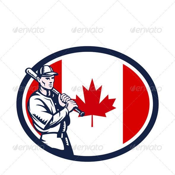 Canadian Baseball Batter Canada Flag Retro