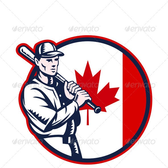 Canadian Baseball Batter Canada Flag Circle
