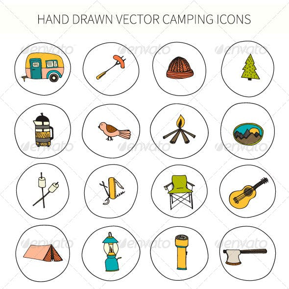 Camping Icons Hand Drawn in Vector