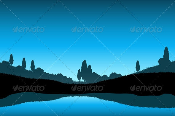 Nature Landscape with Trees Silhouette - Landscapes Nature
