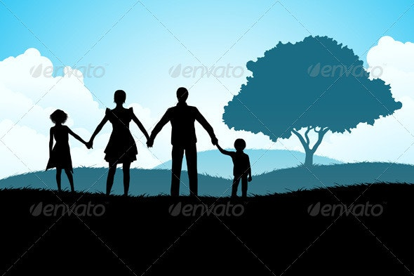 Nature Background with Family Silhouette - Landscapes Nature