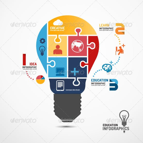 Infographic Template Light Bulb Jigsaw Banner