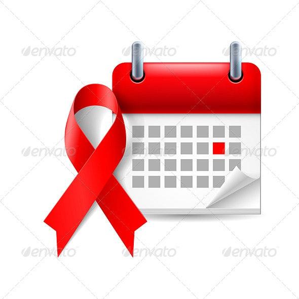 AIDS Awareness Ribbon and Calendar - Miscellaneous Vectors