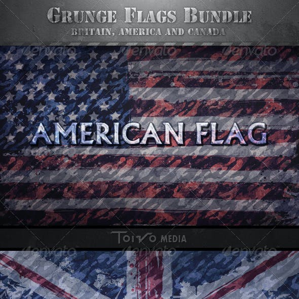 Grunge British, American and Canadian Flags