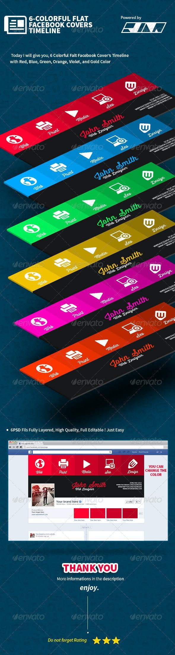 6-Colorful Flat Facebook Timeline Covers - Facebook Timeline Covers Social Media