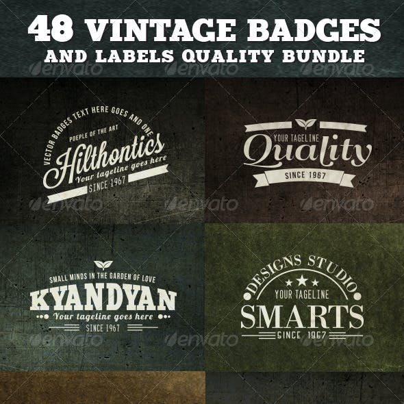 48 Vintage Badges and Labels Bundle