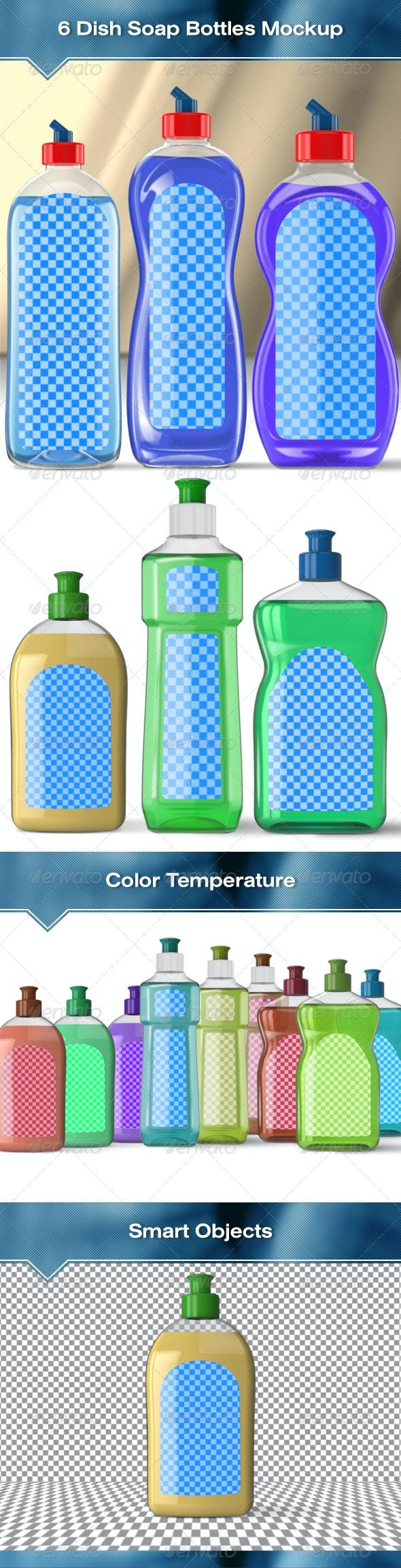 6 Dish Soap Bottles Mock-Up - Packaging Product Mock-Ups