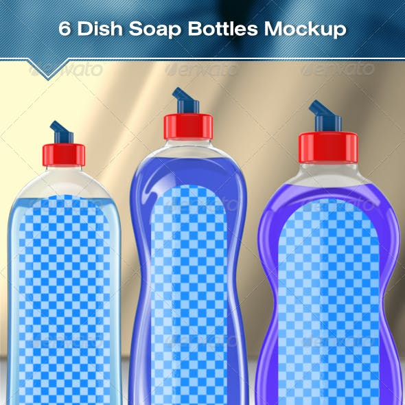 6 Dish Soap Bottles Mock-Up