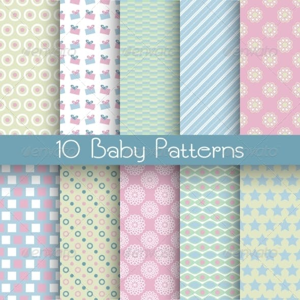 Baby Pastel Different Seamless Patterns