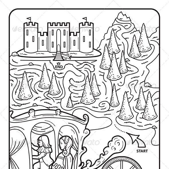 Coloring Book Page, Maze, Princess Augusta